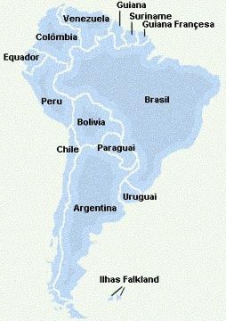 Mapa América Sul